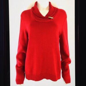 Chaps Cotton Knit Shawl Neck Long Sleeve Sweater